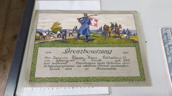 Urkunde Grenzbesetzung 1914 / 1915