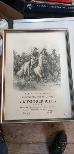 Anerkennungsurkunde Kavallerie