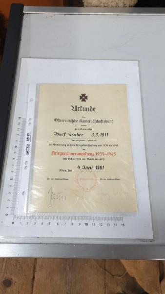 Urkunde Österreichische Kameradschaftsbund