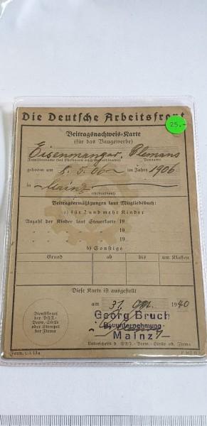 Die Deutsche Arbeiterfront (Beitragsnachweis Karte)