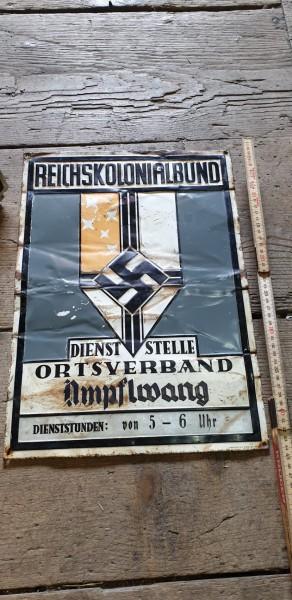Orginal Blechschild 3.Reich Reichskolonialbund