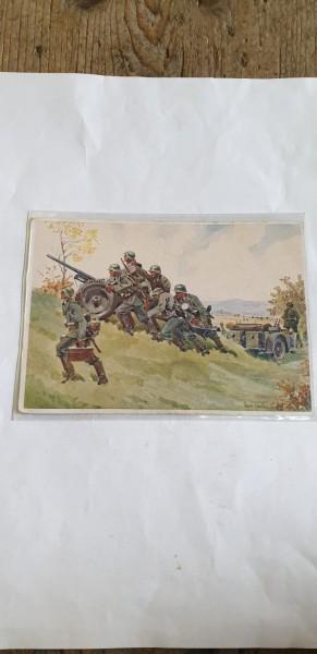 Ansichtskarte Panzerabwehrgeschütz wird in Stellung gebracht