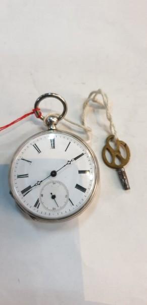 Schlüsselsackuhr mit Doppeladler silber