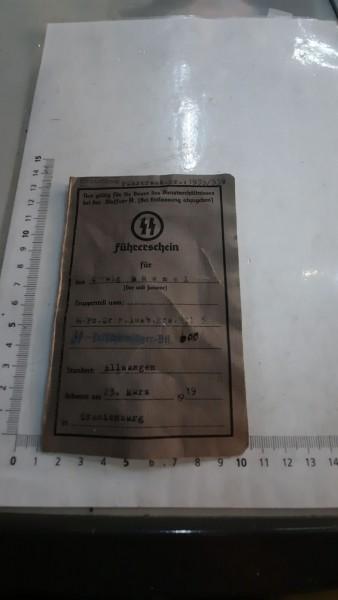 Orginal SS-Führerschein (SS Fallschirmjäger Btl.600)sehr selten