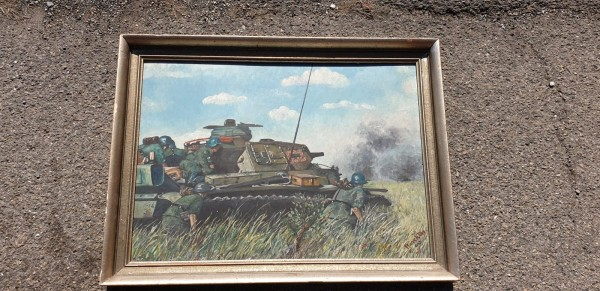 Orginal Ölgemälde 1943 Panzer